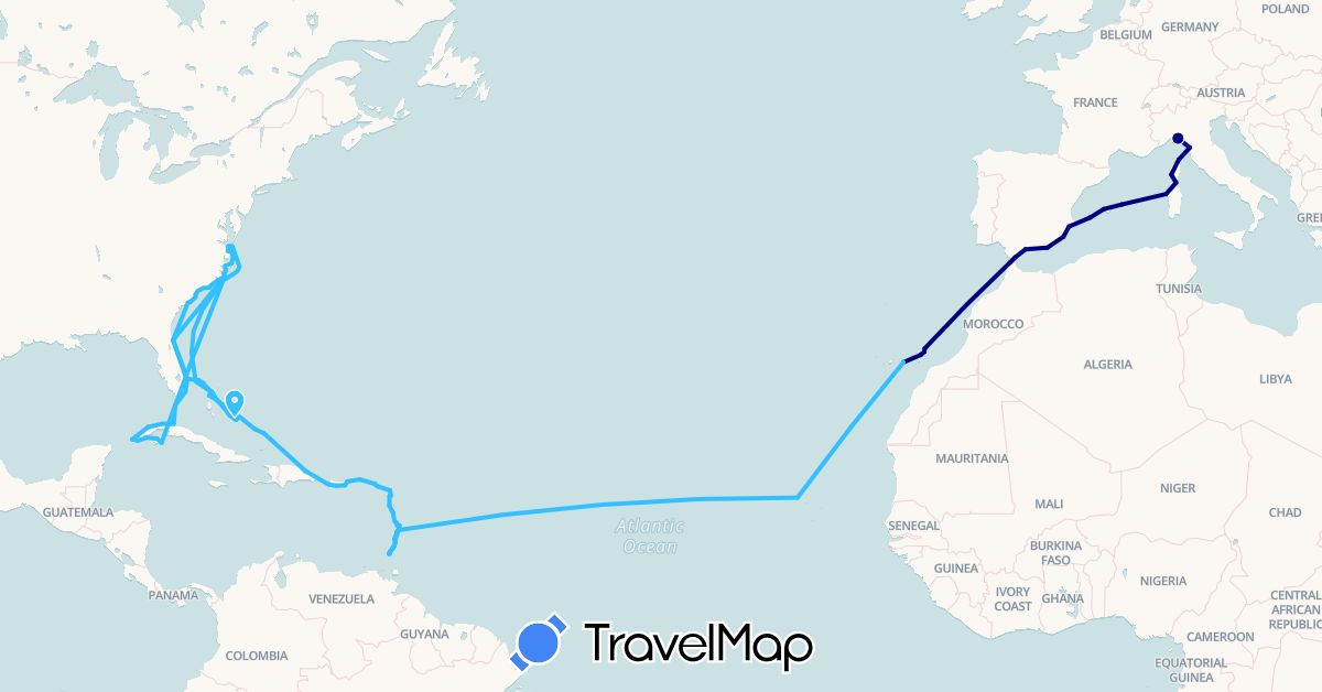 TravelMap itinerary: driving, plane, boat in Antigua and Barbuda, Bahamas, Cuba, Cape Verde, Dominica, Spain, France, Grenada, Gibraltar, Italy, Saint Lucia, Morocco, United States, Saint Vincent and the Grenadines, British Virgin Islands (Africa, Europe, North America)